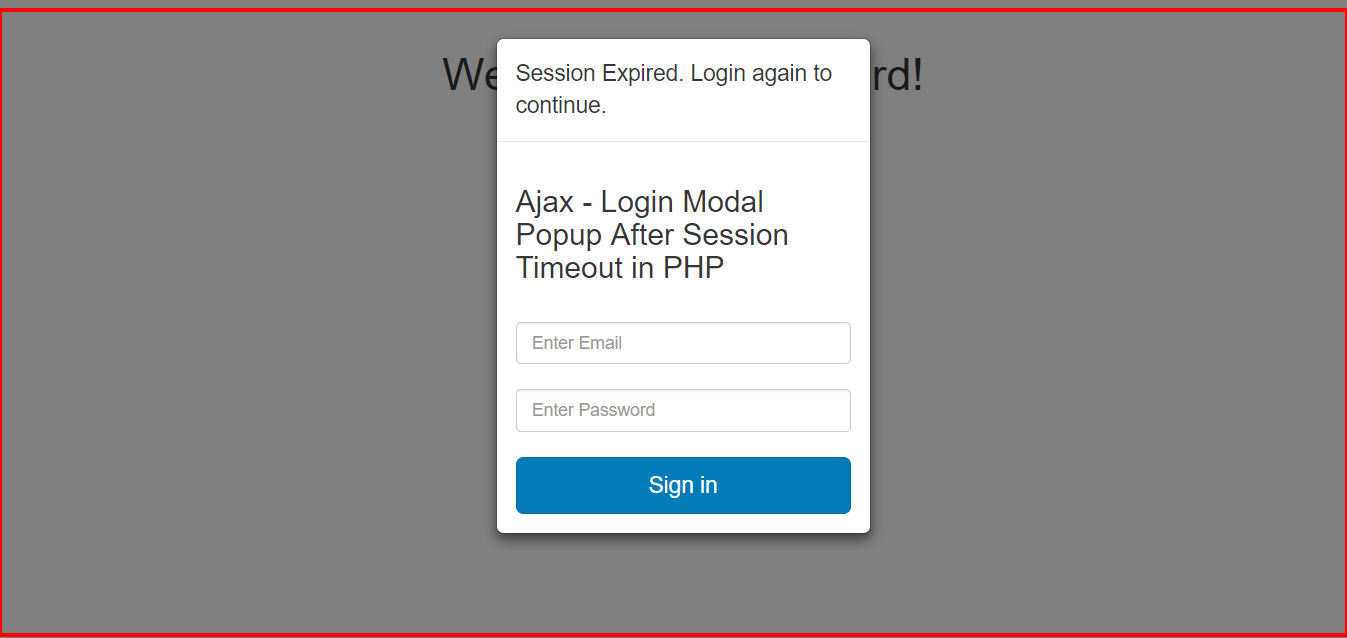 PHP Session Timeout + Login Popup with Ajax Login - Free Online