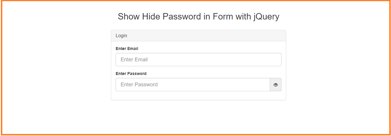 Hide show password input field in jquery