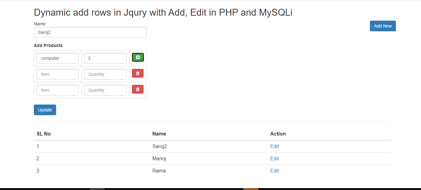 dynamically adding rows in jquery and add, edit with database